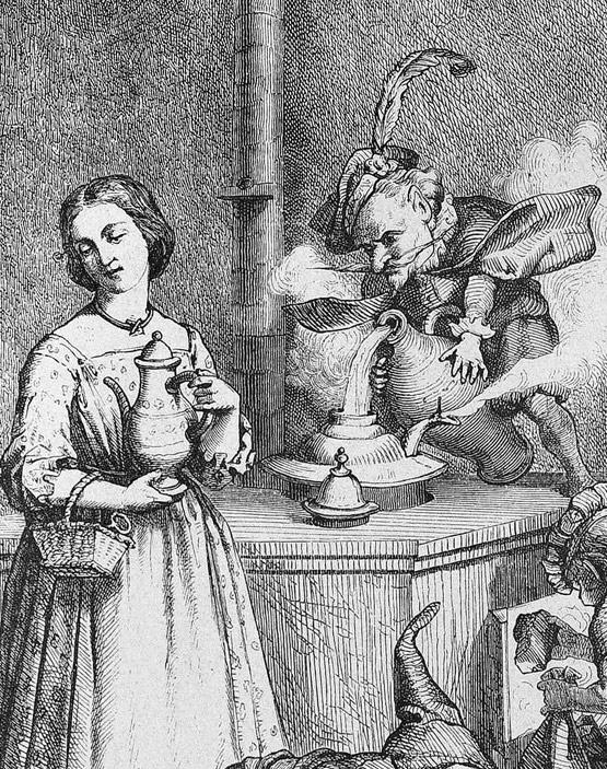 """Theodor Mintrop (1875)""""König Heinzelmann mit Anna in der Küche"""" in der Zeitschrift """"Die Gartenlaube"""""""