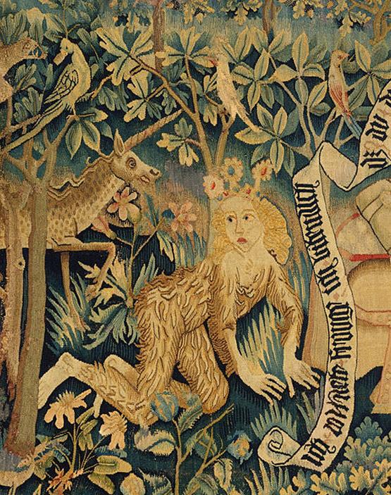 """Wilde Frau auf einem Ausschnitt aus """"Der Busant"""" (1480-90)"""